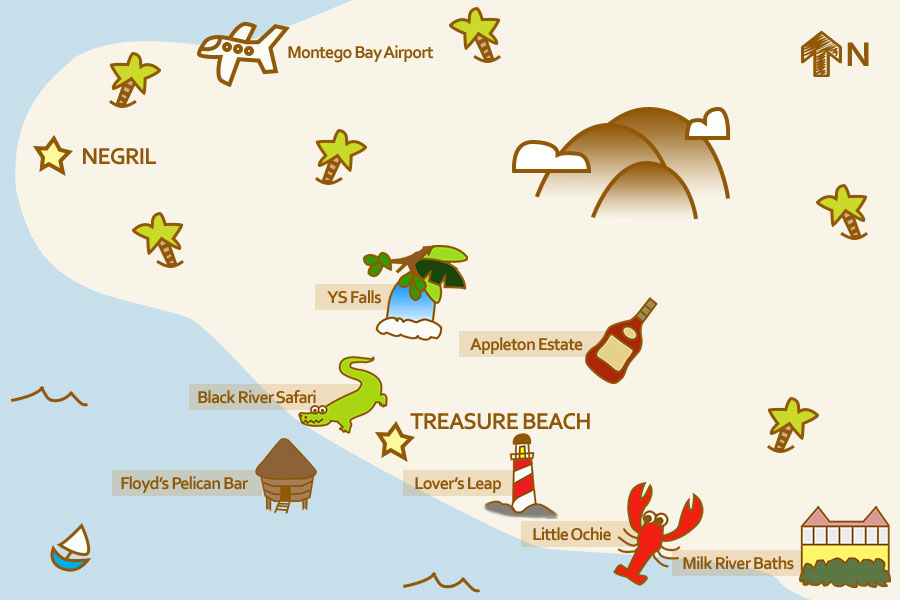 Treasure Beach Tours Map