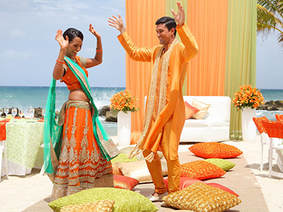 Grand Palladium Jamaica Wedding Sangeet Garba Music Night Dancing Couple Sangeet / Garba / Music Night