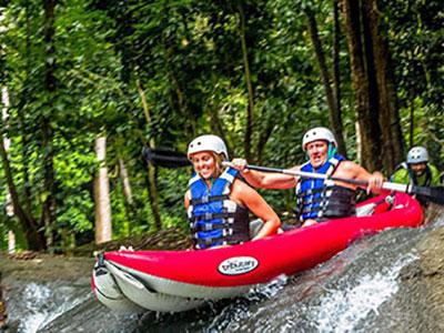 River Bumpkin Farm Kayaking Over Waterfall 1