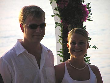 Sunset At The Palms Happy Couple During The Wedding Renewal of Vows
