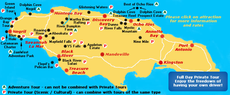 Jamaica Map Things To Do – Jamaica Tourist Attractions Map