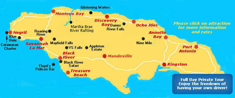 All Tours Map From Negril Area Hotels And Resorts
